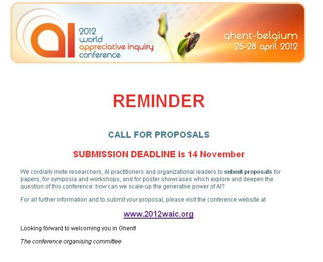 Reminder Call For Proposals World Appreciative Inquiry Conference